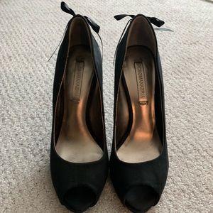 BCBG MAXAZARIA Ribbon back peep toe heels